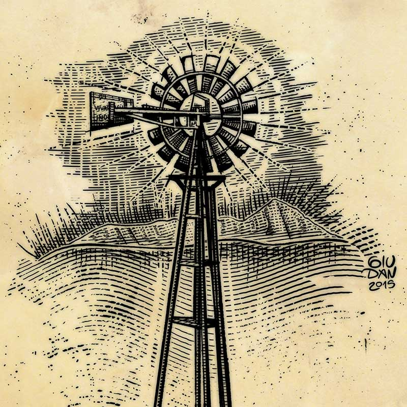Wind mill well woodcut